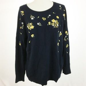 LOFT NWT Floral Embroidered Sweater L